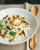 Goat's cheese on risotto with dried tomatoes and rocket