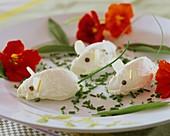 Mascarpone mice, chives and nasturtiums