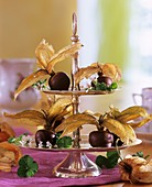 Chocolate-dipped physalis on tiered stand