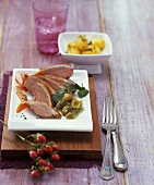 Duck breast with peppery gooseberry chutney