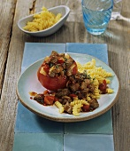 Fiery lamb stew with tomatoes and spiral pasta
