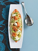 Salad of pasta shells, smoked salmon and soft cheese