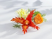Flowers carved from vegetables