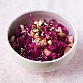 Red cabbage, apple and hazelnut salad
