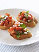Bruschetta (tomatoes on toast), Tuscany, Italy