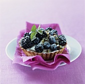 Blackberry and blueberry tart