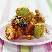 Vegetable skewers with buttered breadcrumbs