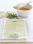 Filling filo pastry with herb quark