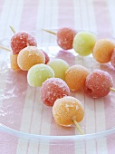Melon ball skewers, frozen