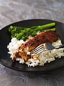 Fish fillet with rice and broccoli, Asian style
