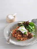 Meatballs with Greek 'rice' pasta