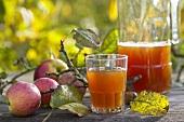 Apfelmost und frische Äpfel