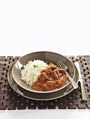 Lamb ragout with mint and rice