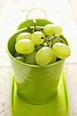 Green grapes in a green beaker