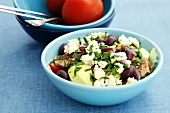 Chicken, olive and feta salad with parsley