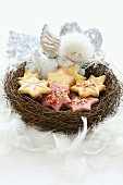 Star-shaped Christmas biscuits and angel