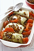 Stuffed cabbage leaves with meat stuffing, raisins & tomatoes