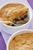 Vegetable soufflé with aubergines and courgettes