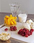 Ingredients for Peach Melba (Peaches, raspberries, ice cream)