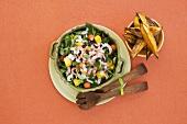 Fruity shrimp salad with sweet potatoes