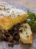 Kartoffelkuchen mit Pilzen