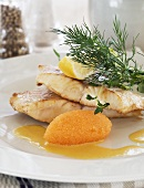 Fish fillet with vendace roe and dill (Sweden)