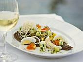 Flatfish with egg and caviar