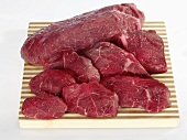 Beef: chuck eye steak (a cut from the shoulder)