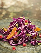 Red cabbage salad with apricots, pomegranate seeds & pistachios