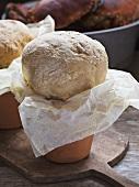 Bread baked in a flowerpot