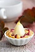 Baked plum and pear dessert