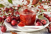 Crab apple jam and rose hips