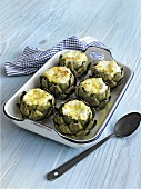 Carciofi in bianco (Artichokes stuffed with mozzarella)