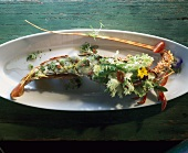 Grilled spiny lobster with salad