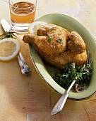 Fried poussin with parsley salad