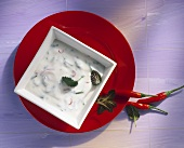 Raita with mint and chillies