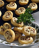 Savoury palmiers with salami filling