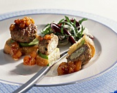 Meatballs with herb & soft cheese stuffing on toast