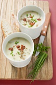 Cream of potato soup with ceps