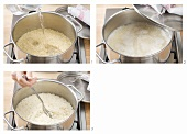 Cooking rice by the absorption method