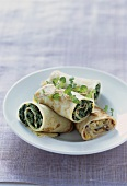 Pancakes with spinach and with mushroom filling