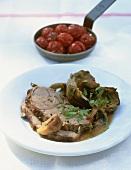 Brasato d'agnello (Roast lamb with artichokes, Italy)