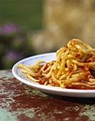 Pici all'aglione (Pasta with tomato & garlic sauce, Italy)