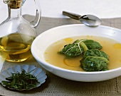 Soup with stuffed lettuce leaves