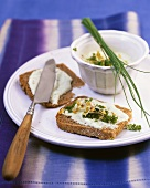 Sprout and tofu spread on wholemeal bread