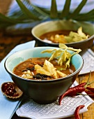 Black bean soup with chilli and pineapple