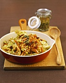 Stir-fried vegetables with lentils and capers