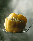 Yellow pepper with rice stuffing