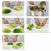 Preparing stuffed savoy cabbage leaves with vegetarian stuffing