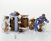 Chocolates in storage jars